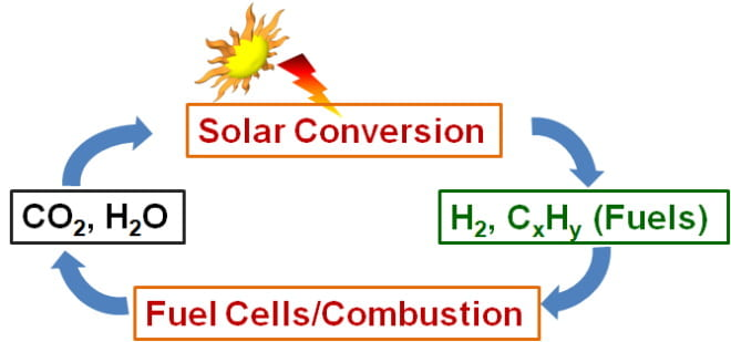 Scheme 2. Photo-electrocatalytic reactions for carbon-neutral solar-to-fuel conversion.