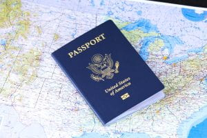picture of a passport and world map