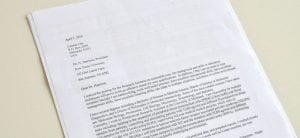 Picture of a formal cover letter typed on white paper
