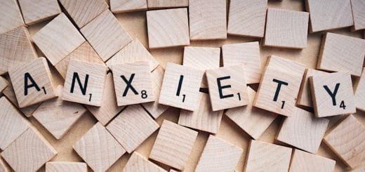 Anxiety spelled with wooden letters