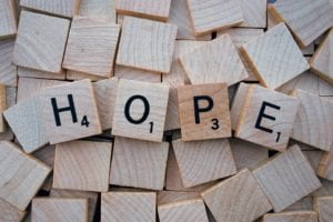 Hope spelled with wooden letters