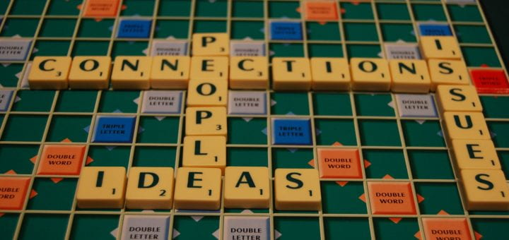 Scrabble game with the words ideas, people, connections, and issues intersecting