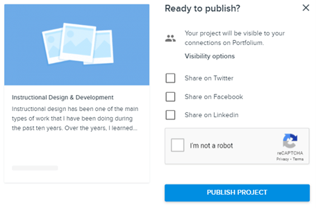 screenshot of publishing Folio and sharing with social network