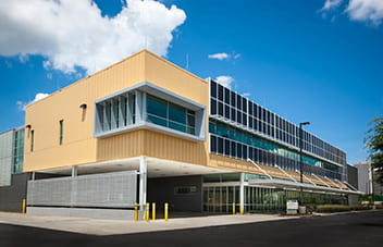 Wide angle view of the Carbon Neutral Energy Solutions Laboratory building at Georgia Tech