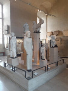 Artifacts in a Louvre exhibit