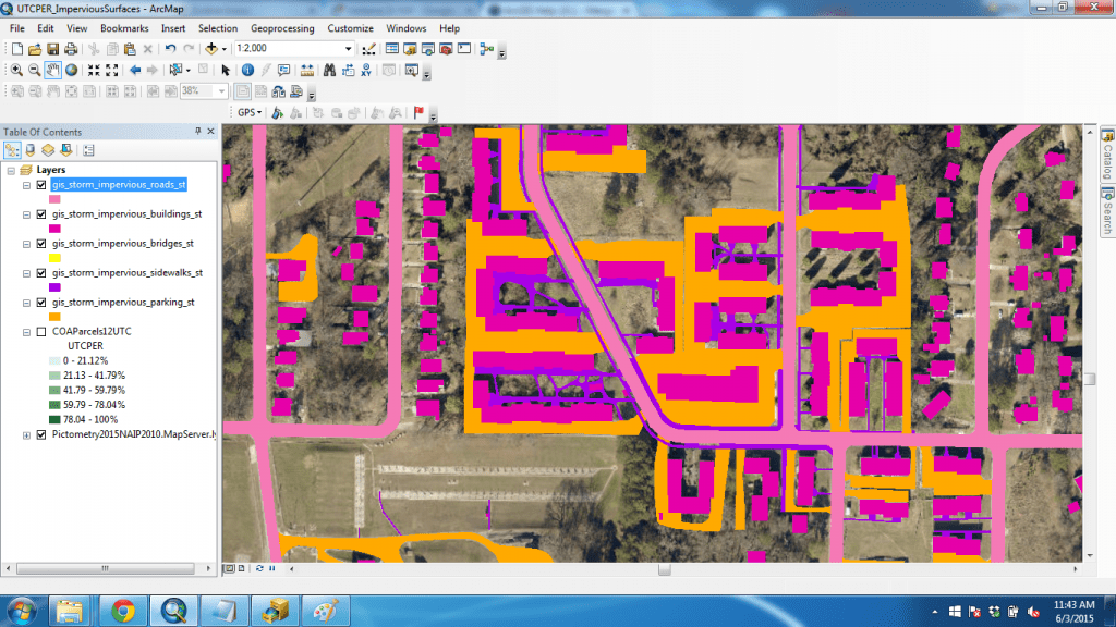 This shows different impervious surface types over satellite imagery.