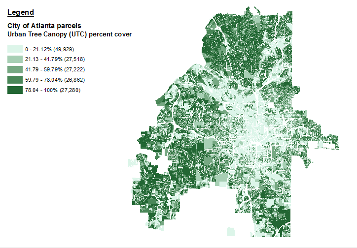 Tree cover by land parcel