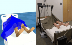 Robot learns to manipulate blankets using physics simulations.