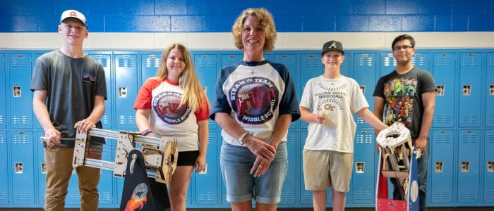Students and teacher at Griffin middle school