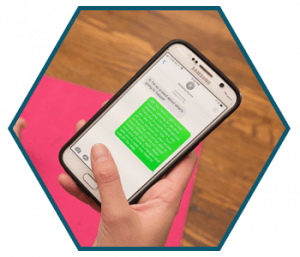 person using the project safe chat feature on a smart phone