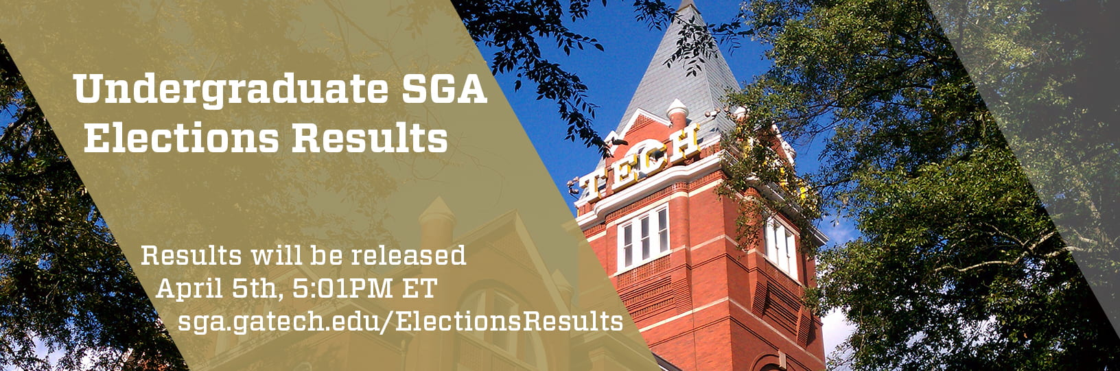 Undergraduate SGA Elections Results will be released April 5th, 5:01PM Eastern Time.