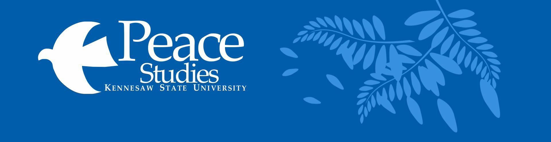 Blue and white peace studies minor banner