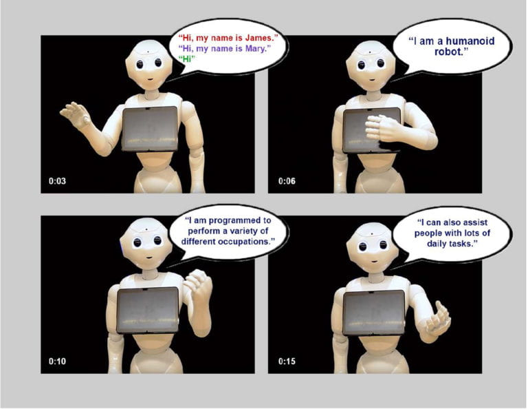"In the first image, a robot says either ""Hi, my name is James,"" ""Hi, my name is Mary,"" or simply ""Hi."" In the second, it says ""I am a humanoid robot."" In the third it says, ""I am programmed to perform a variety of different occupations."" In the final image, it says, ""I can also assist people with lots of daily tasks."""