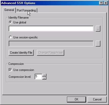 """Screenshot for """"General"""" tab of the Advanced SSH Options window. Make sure to check the box next to """"Use compression""""."""