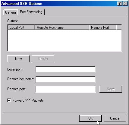 """Screenshot of """"Port Forwarding"""" tab of the Advanced SSH Options window. Make sure to check the box next to """"Forward X11 Packets""""."""