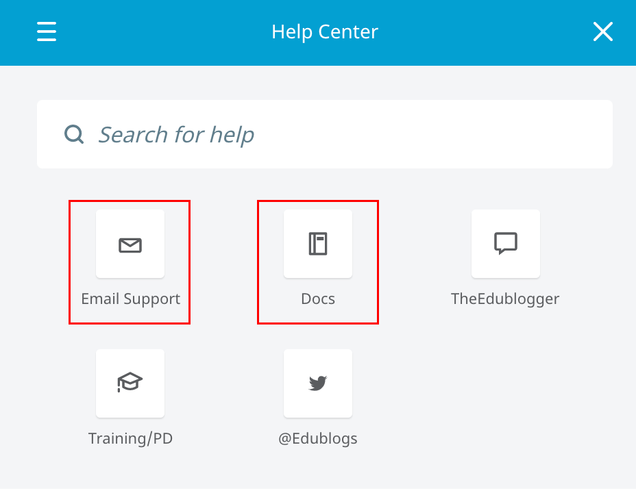"""A screenshot of the built-in support tool's options, with """"Email Support"""" and """"Docs"""" highlighted as most relevant."""