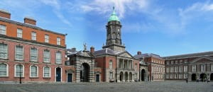 Dublin Castle flanked by Fortitude and Justice