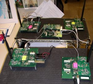 Figure 6. The node in the middle is being used only to monitor the firing times of the four other nodes