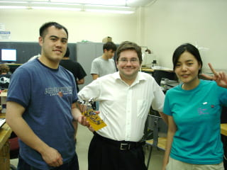Aaron with synth class students