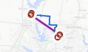 Map showing possible air taxi routes in Dallas-Fort Worth, Texas